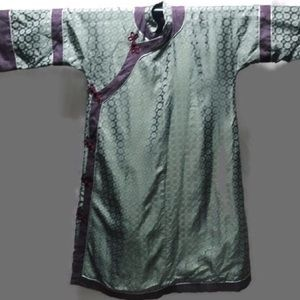 Kimono Vintage Green & purple. Knotted Tie buttons